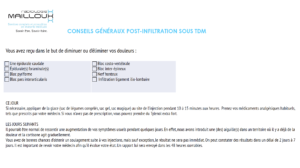 #CONSEILS GÉNÉRAUX POST-INFILTRATION SOUS TDM